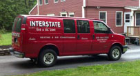 red interstate gas and oil van