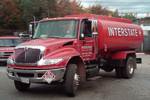 red interstate gas and oil truck
