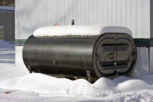 oil tank with snow on it