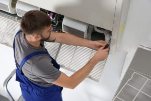 A/C system being repaired